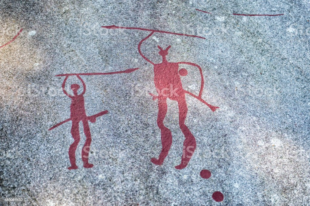 Petroglyphs or Carvings in Bohuslan, Sweden stock photo