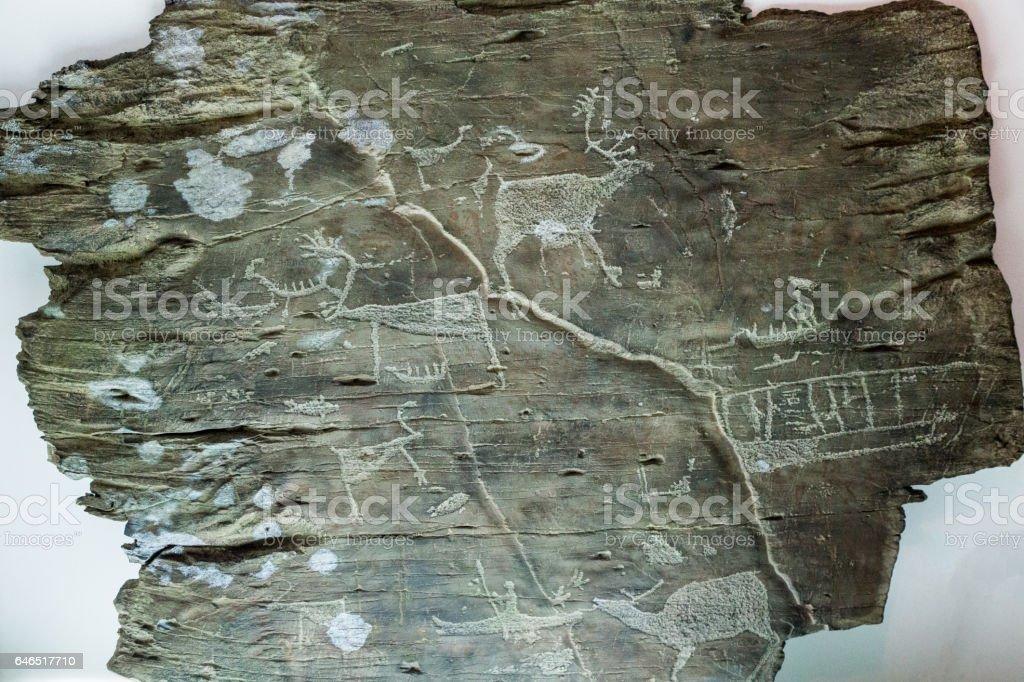 Petrogyphs from Tschukotka stock photo