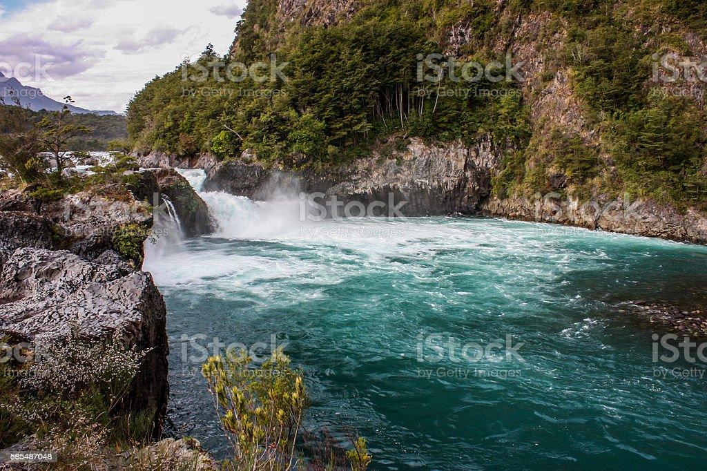 Petrohue waterfall stock photo