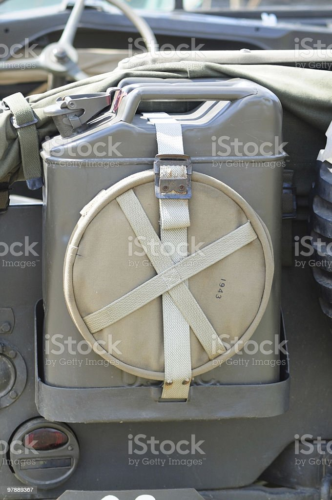 WW2 Petrol Can on Jeep stock photo