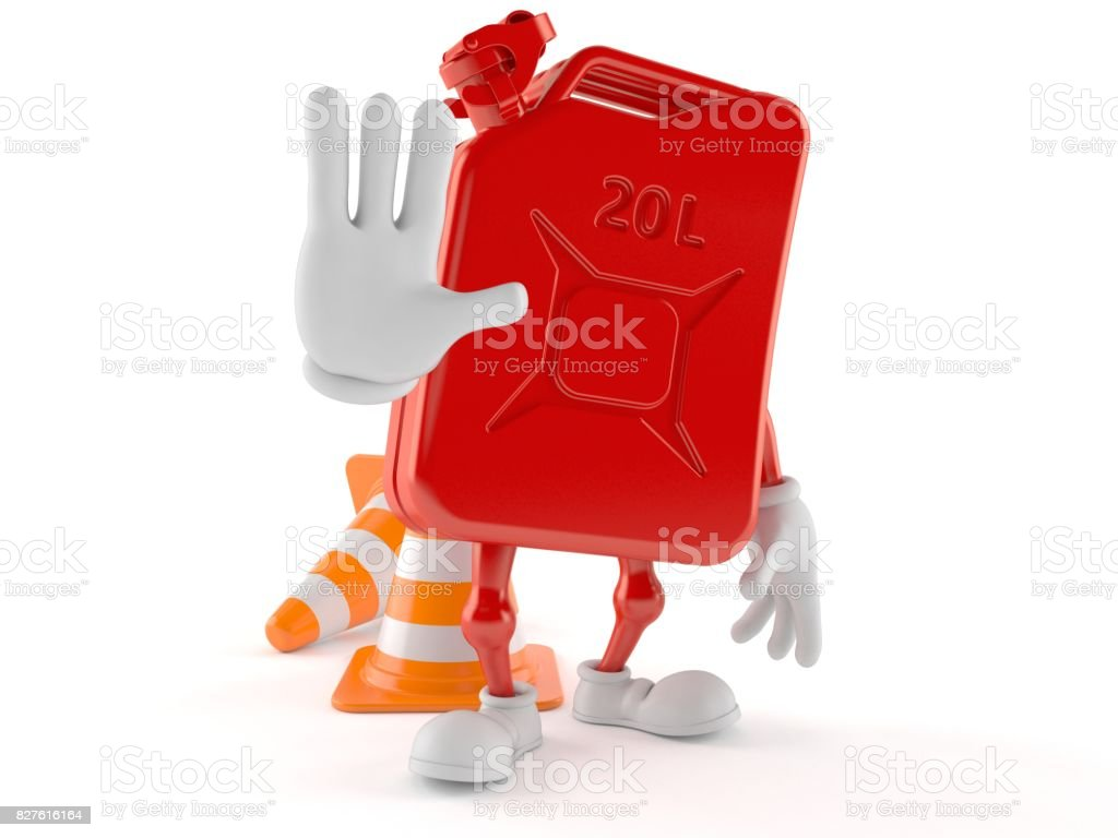 Petrol canister character making stop gesture stock photo
