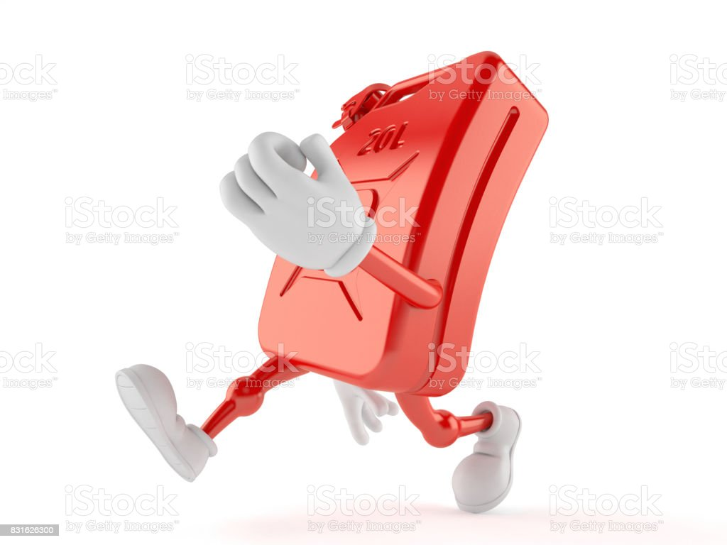 Petrol canister character running stock photo