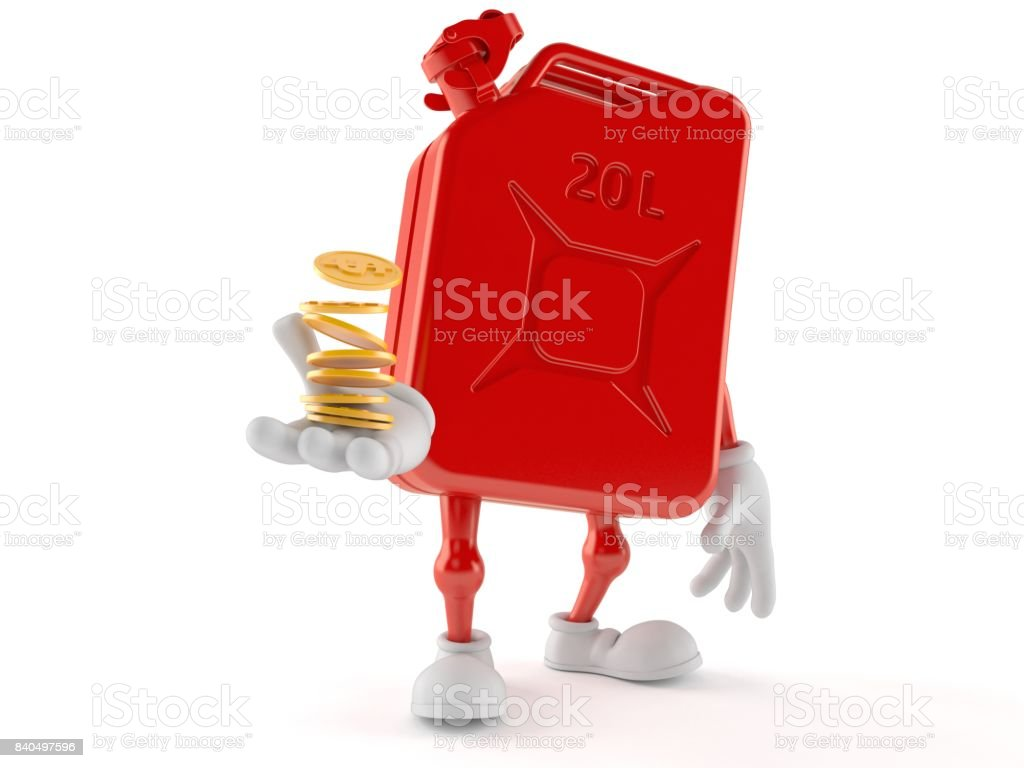 Petrol canister character with coins stock photo
