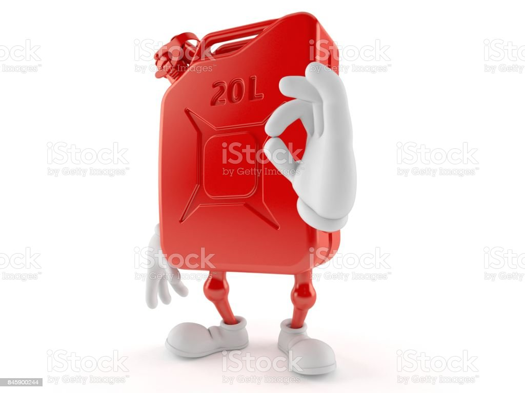 Petrol canister character with ok gesture stock photo