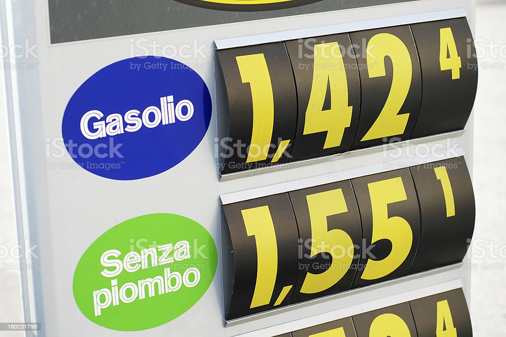 Petrol price sign in Italian gas station royalty-free stock photo