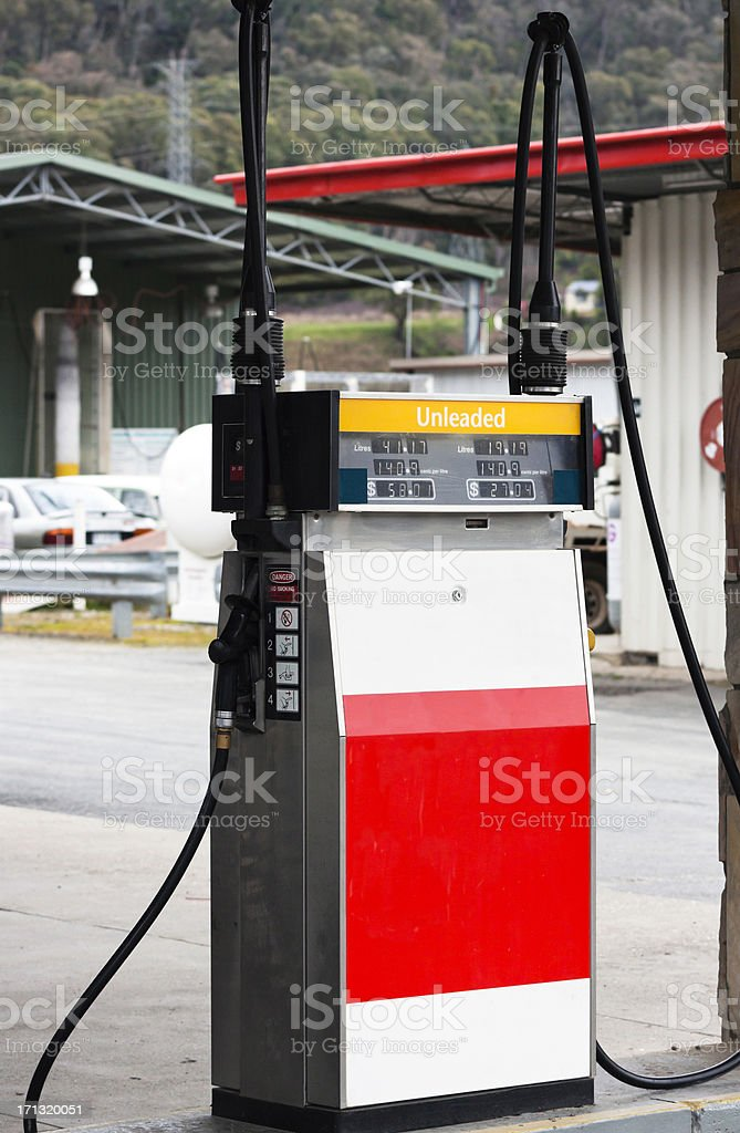 Petrol pump at the gas station stock photo