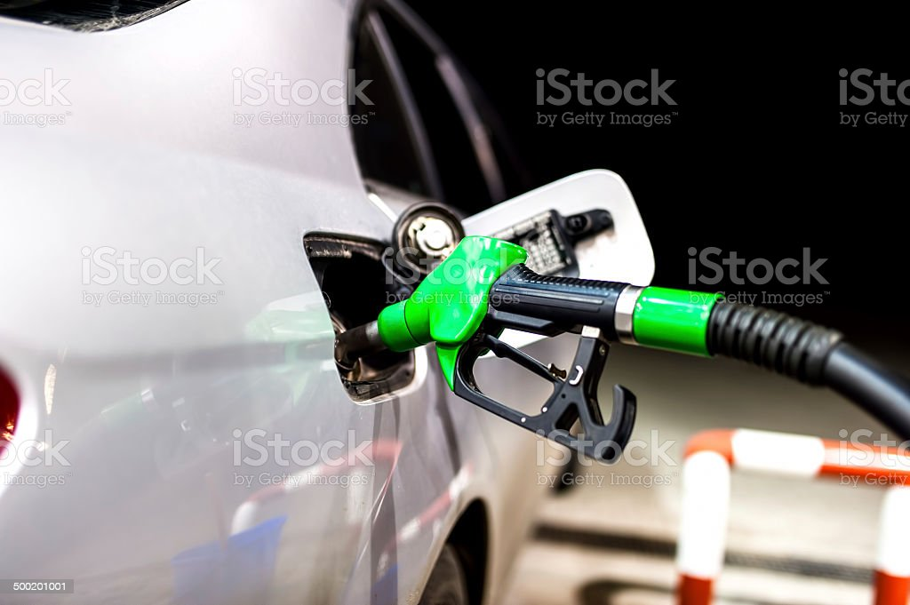 Petrol pump filling.Refuel from gas station with modern noozle royalty-free stock photo