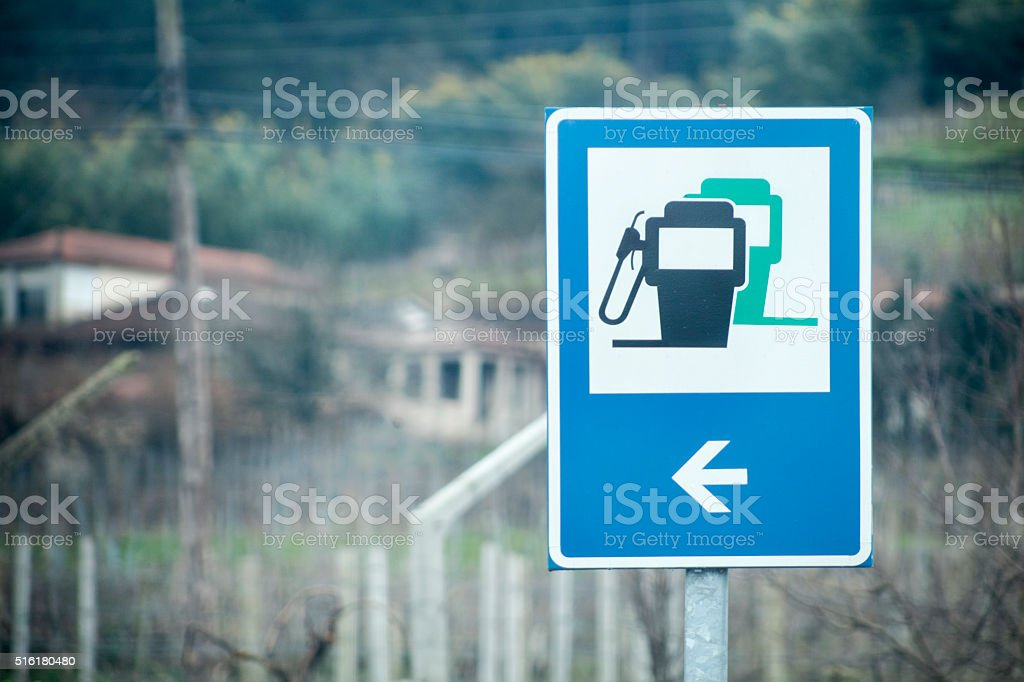 Petrol pump, gas station traffic sign stock photo
