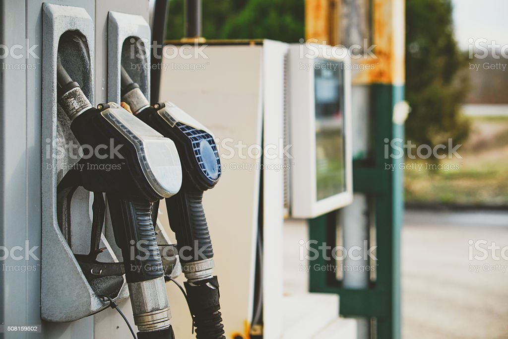 Petrol pump in petrol station stock photo