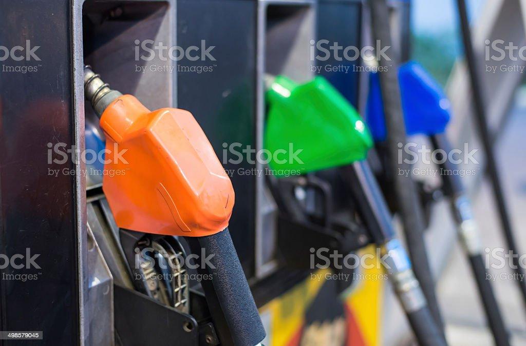 Petrol  Pump nozzles station stock photo