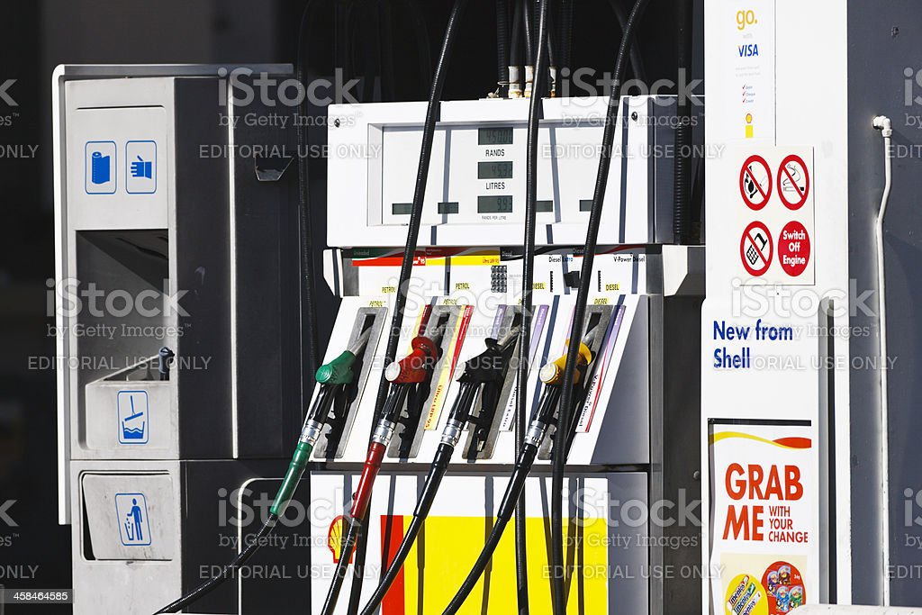 Petrol pumps at Shell gas station in the suburbs stock photo