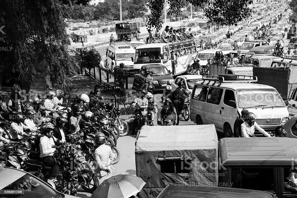 Petrol queue Kathmandu stock photo
