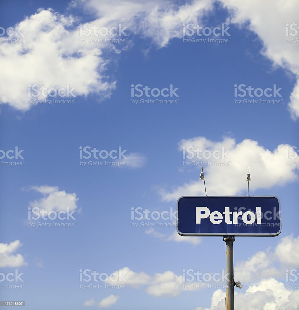 'Petrol' Sign on Sky Background royalty-free stock photo