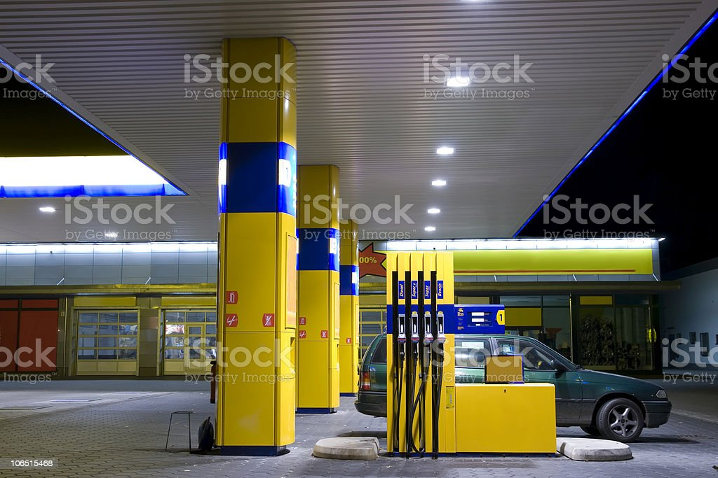 Petrol station at night stock photo