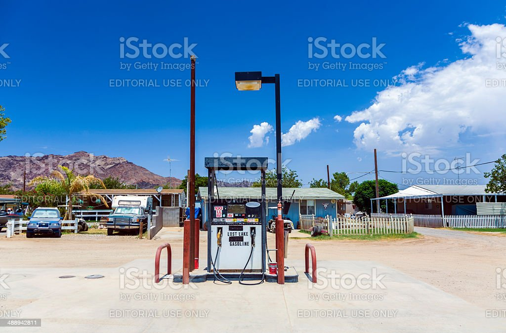 petrol station in lost lake stock photo