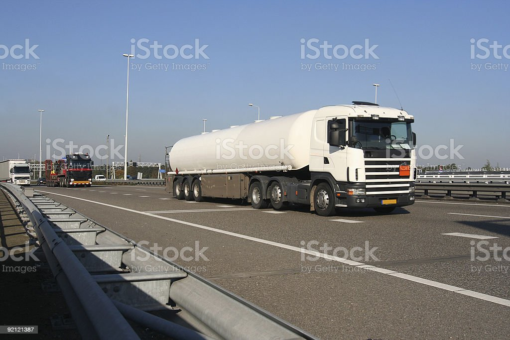 Petrol Truck on the Freeway royalty-free stock photo