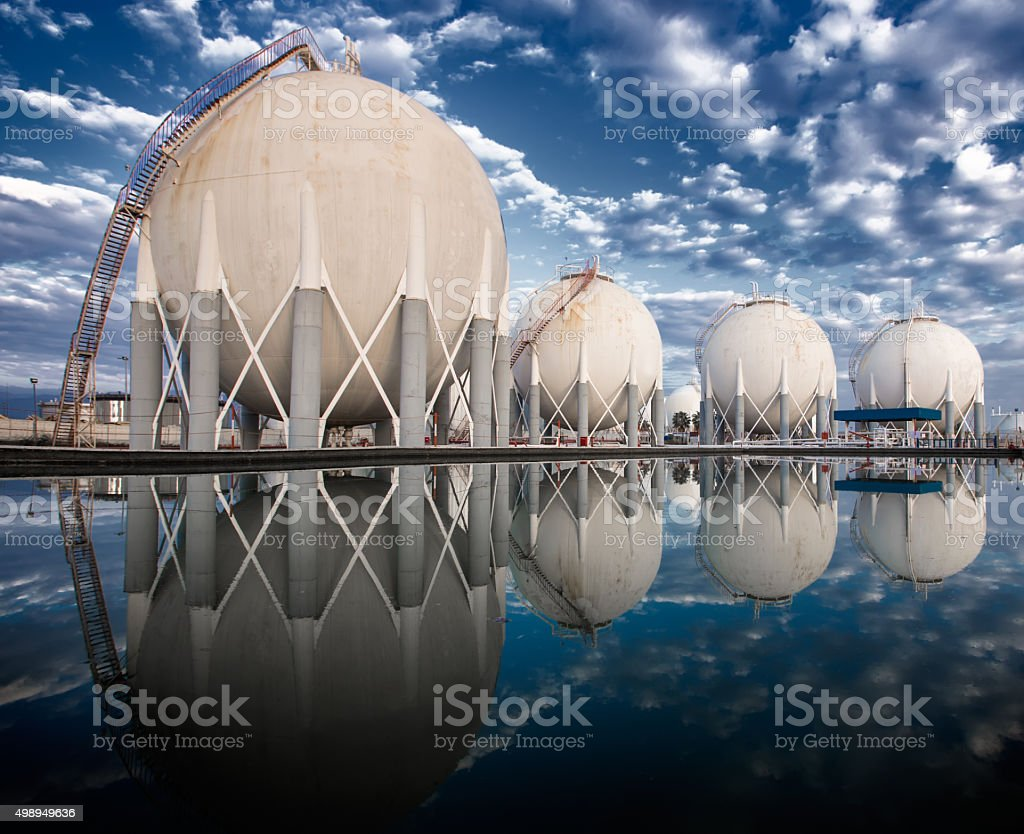 Petroleum area Storage Tanks port stock photo