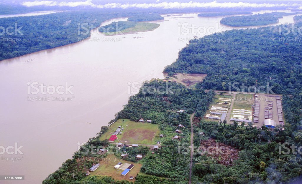 Petroleum camp on an Amazonian river stock photo
