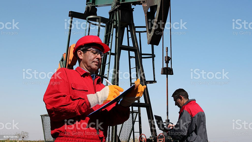 Petroleum Engineers Teamwork stock photo
