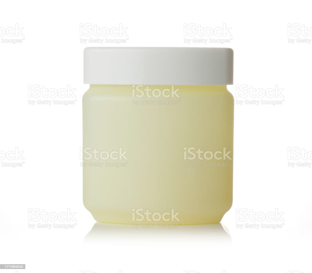 Petroleum jelly tub on a white background stock photo