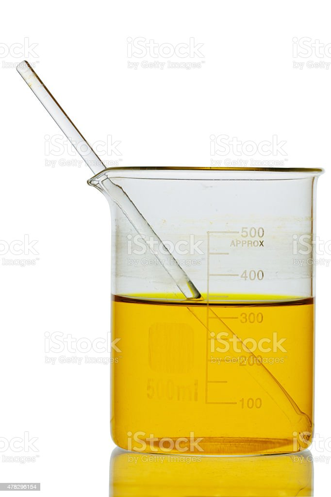 petroleum oil in flask isolate on white background clipping path stock photo