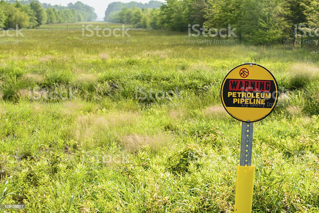 Petroleum pipeline warning sign and right-of-way stock photo