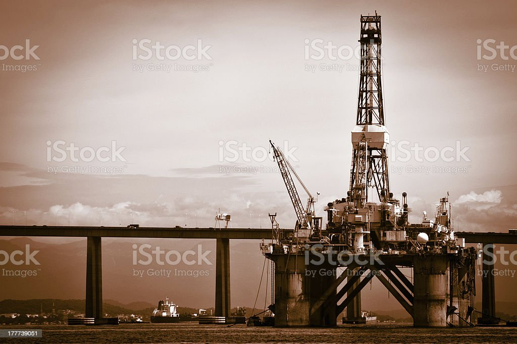 Petroleum platform on the Guanabara bay royalty-free stock photo
