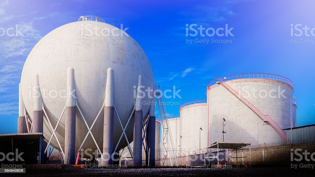 petroleum storage tanks on petrochemical area stock photo