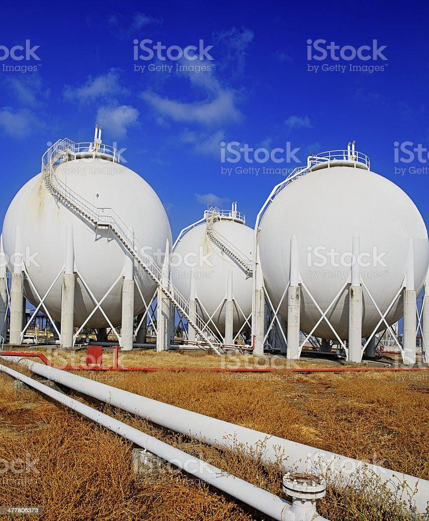 Petroleum Storage Tanks on Petrochemical Plant royalty-free stock photo