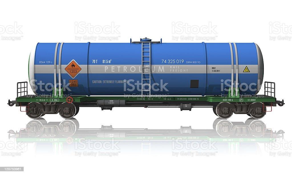 Petroleum tanker railroad car stock photo
