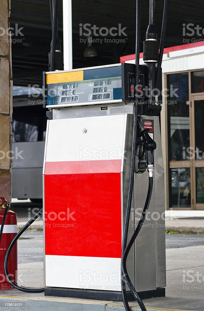 Petrol-gas pump in gas station stock photo