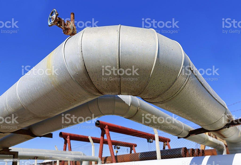 Petrolium industrial pipelines stock photo