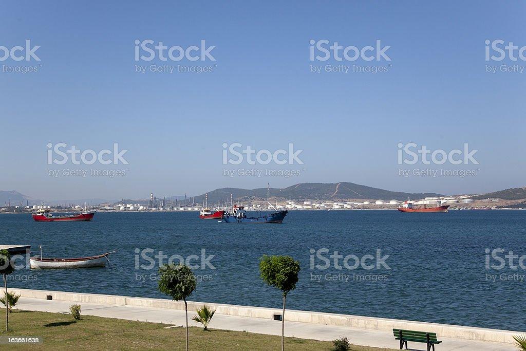 petrolium refinery at aliaga bay of izmir turkey stock photo