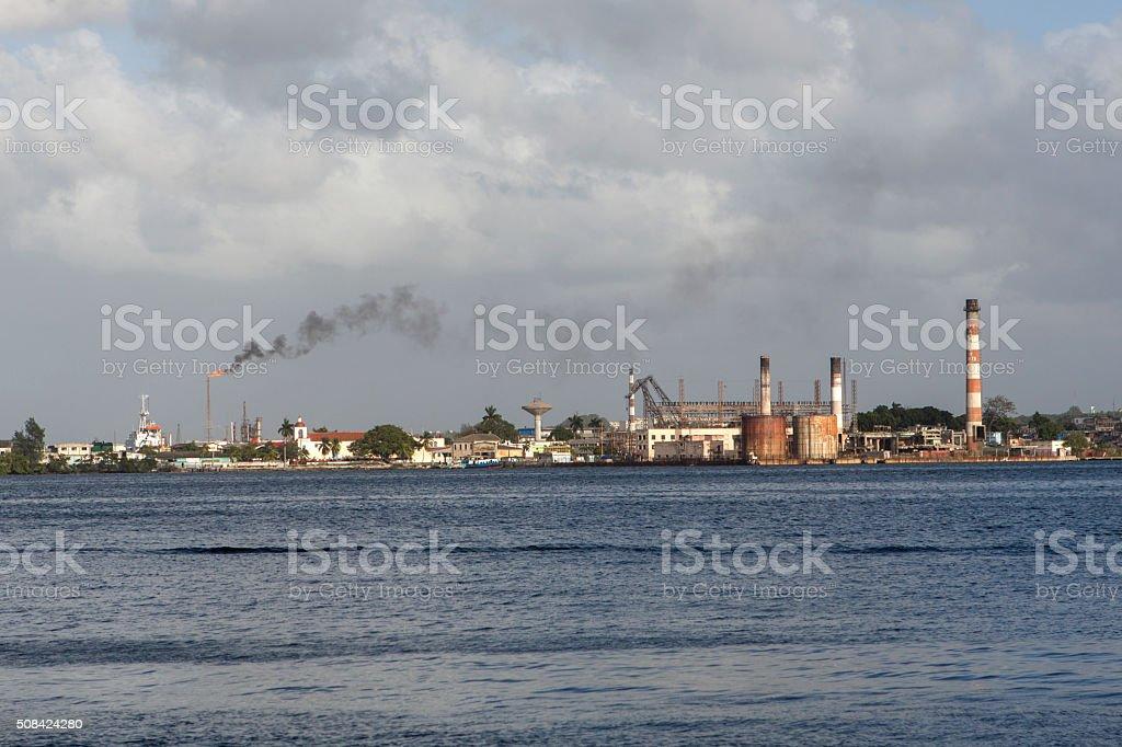 petrolium refinery at havana bay cuba stock photo