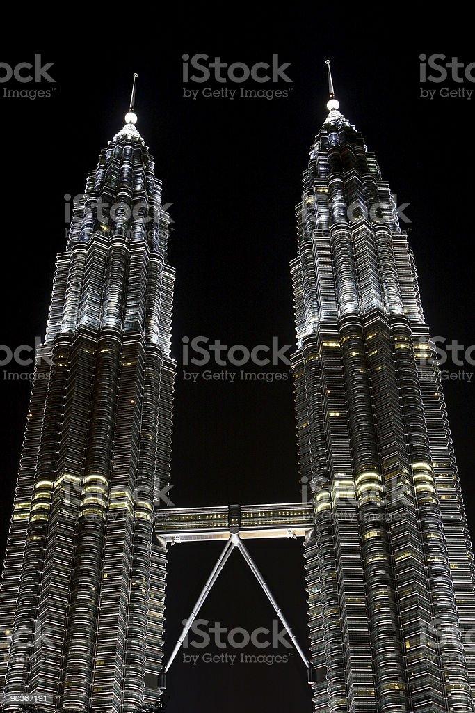 petronas towers at night, KL, Malaysia royalty-free stock photo