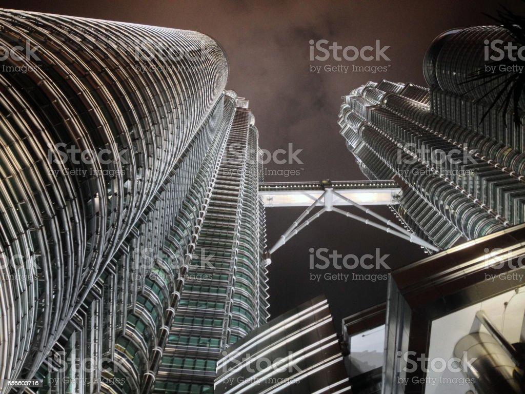 Petronas Towers Terrestrial view at night. stock photo