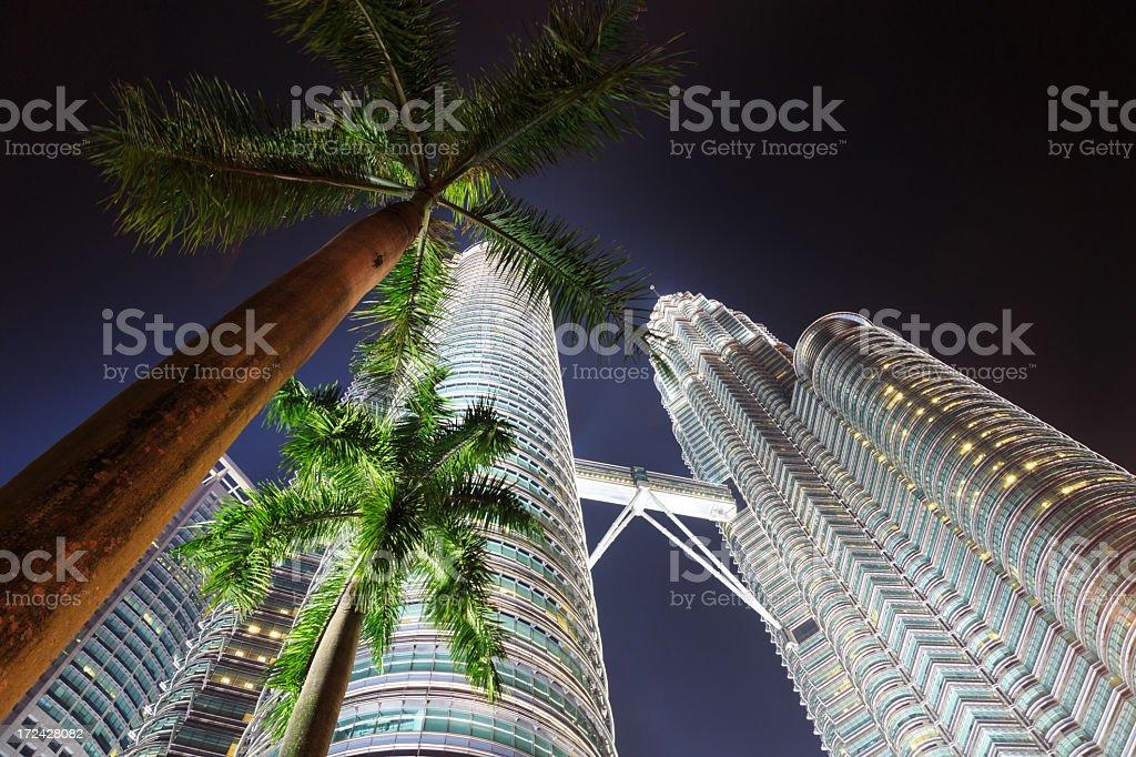 Petronas Twin Tower Illuminated at Night, Kuala Lumpur, Malaysia royalty-free stock photo