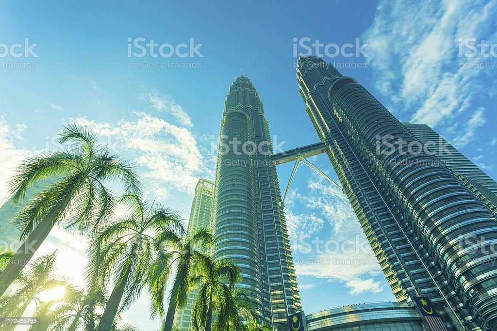 Petronas Twin Towers in Kuala Lumpur at Sunrise royalty-free stock photo
