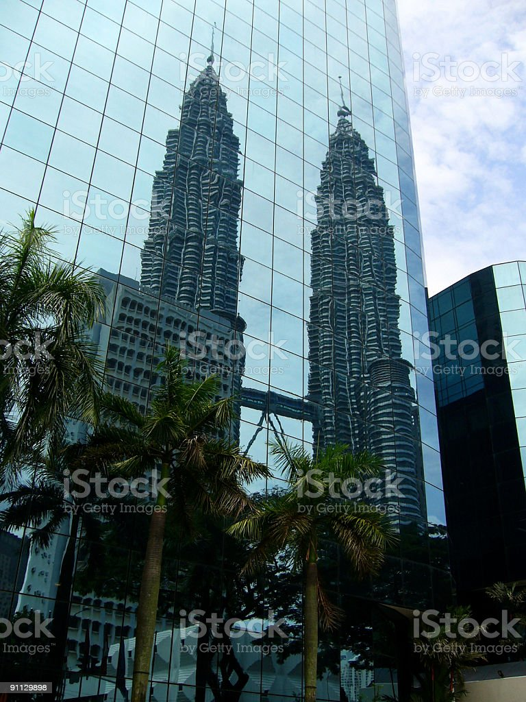 petronas twin towers mirror reflection stock photo