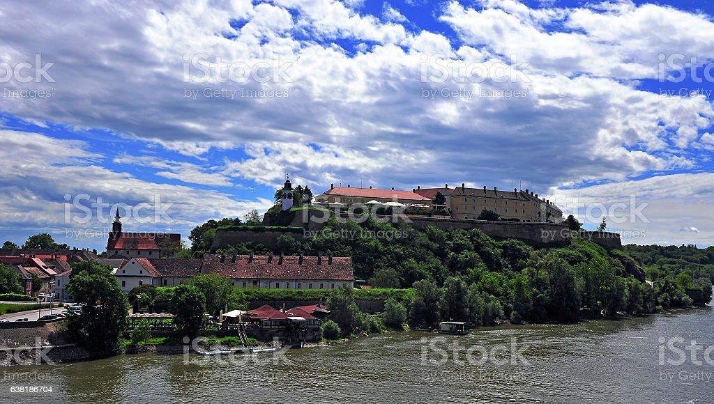 Petrovaradin castle and Danube river stock photo