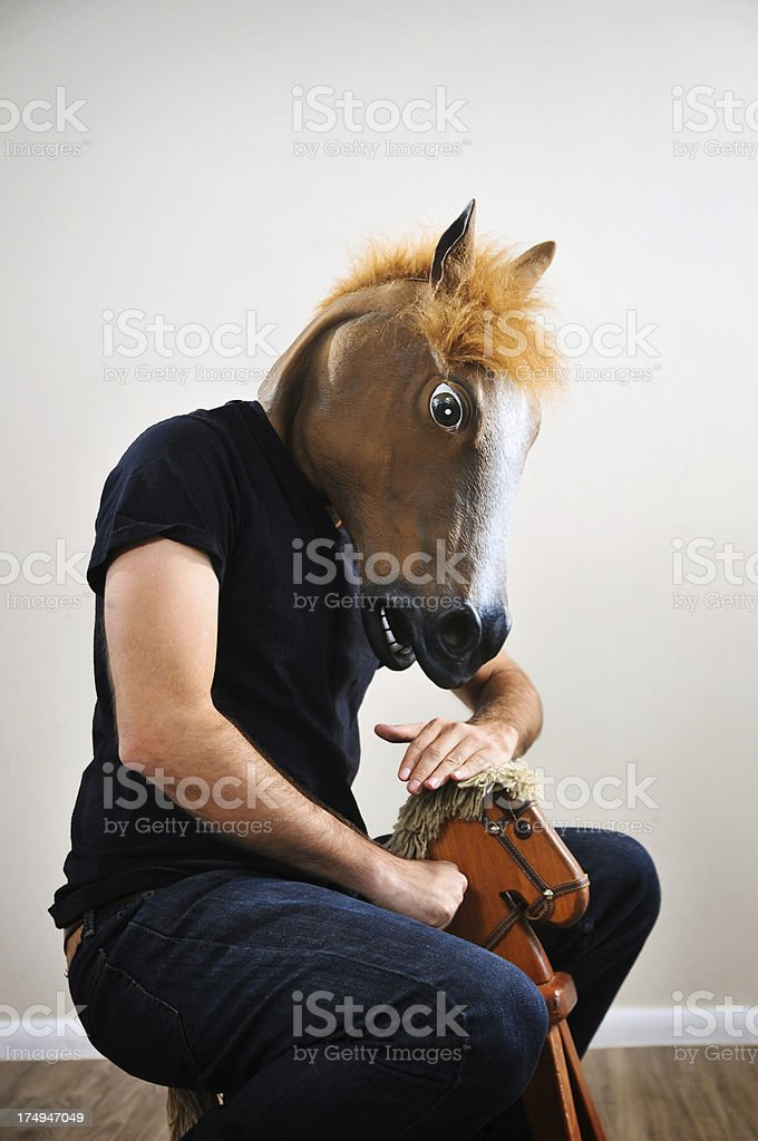 Petting the horse stock photo