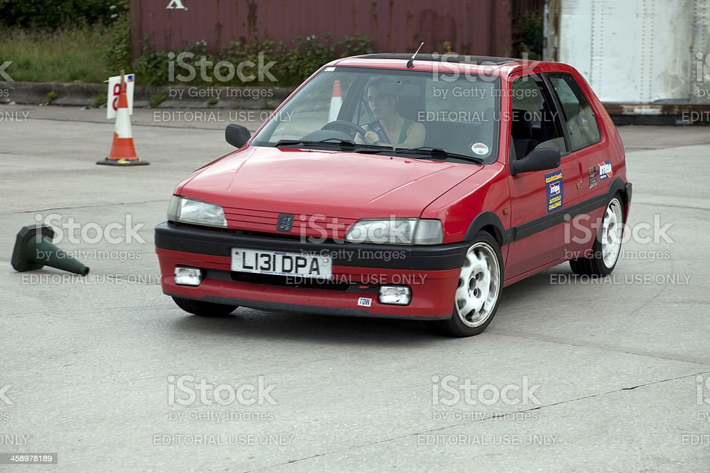 Peugeot 106 at autocross rally event stock photo