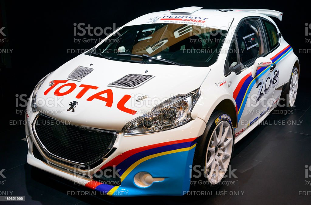 Peugeot 208 T16 rally car front view stock photo