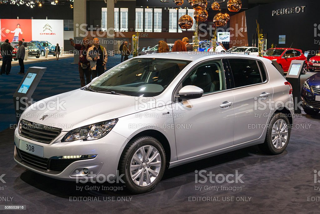 Peugeot 308 hatchback family car stock photo