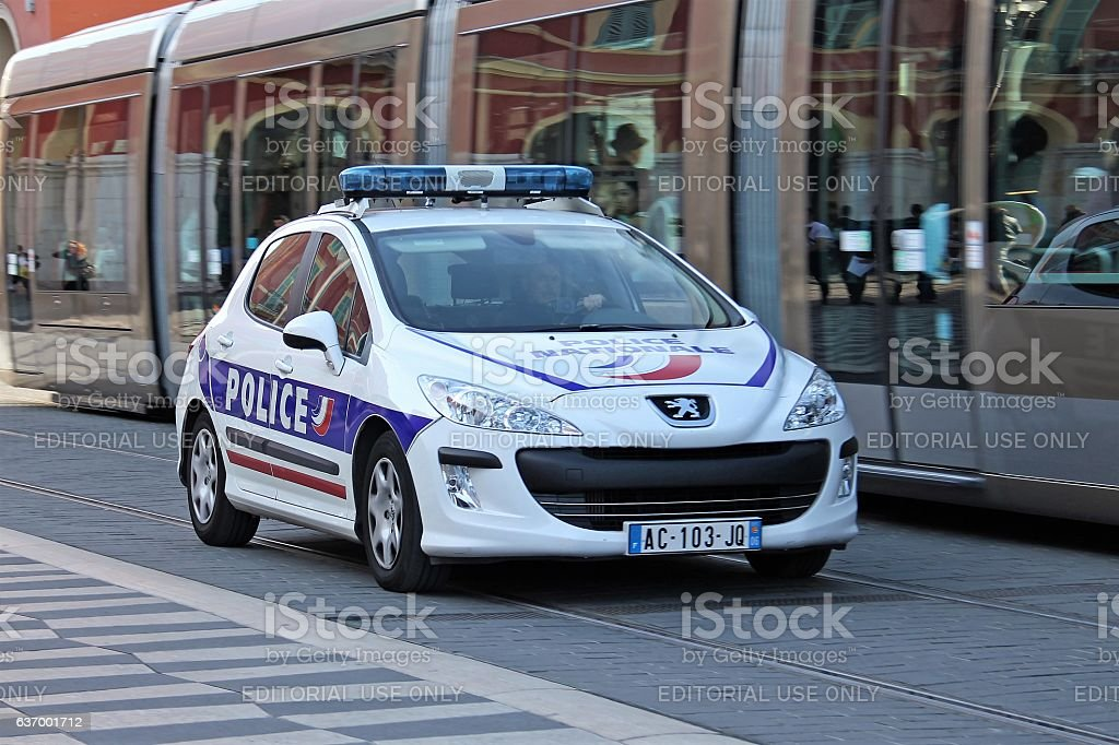 Peugeot 308 police car in motion stock photo