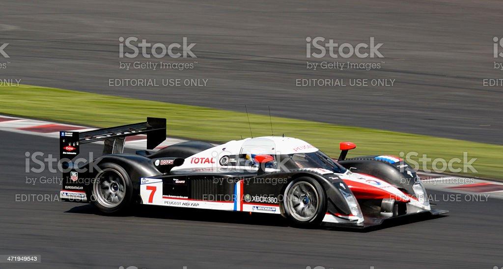 Peugeot 908 HDi FAP race car at the racing track stock photo