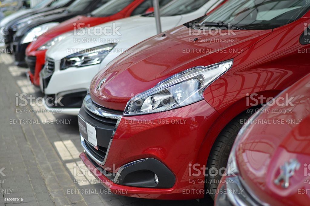 Peugeot cars on the parking stock photo