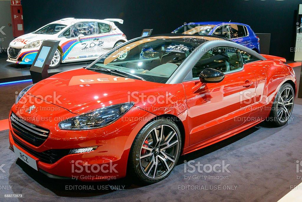 Peugeot RCZ coupe sports car front view stock photo