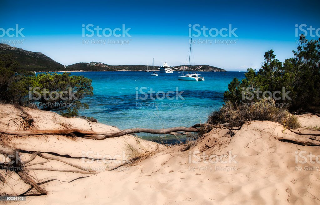 pevero bay Esmerald coast in North of Sardinia Italy stock photo