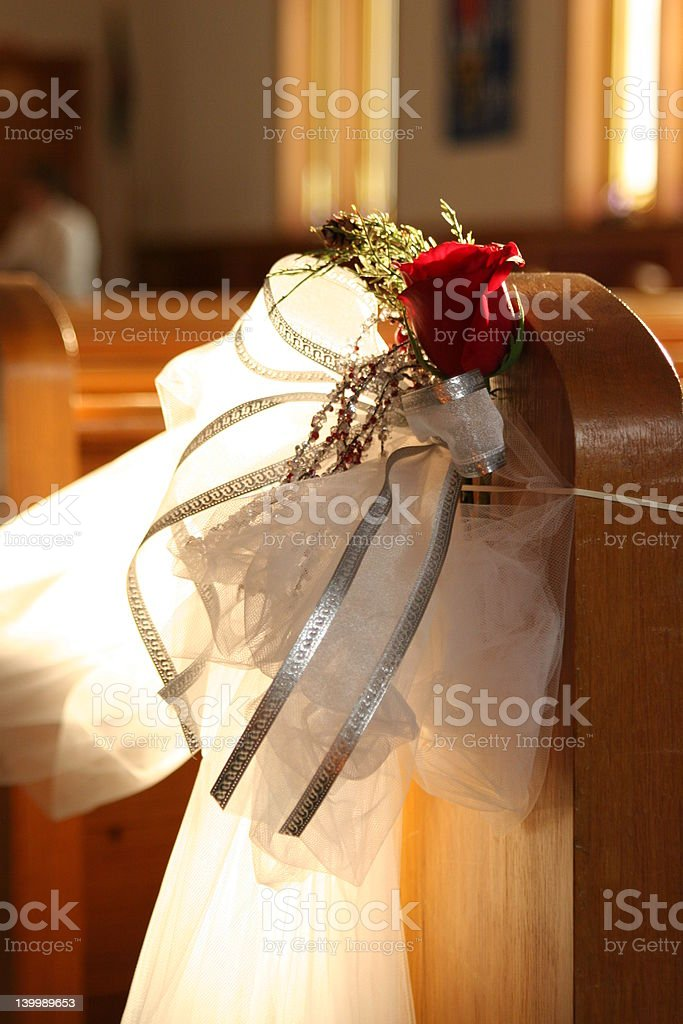 Pew Bow with sunlight through window royalty-free stock photo